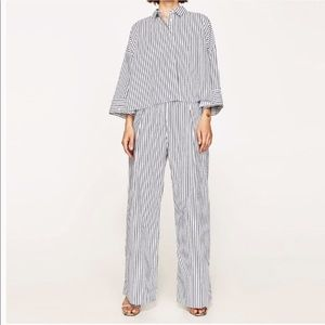 Zara striped blue and white palazzo pants sz Med